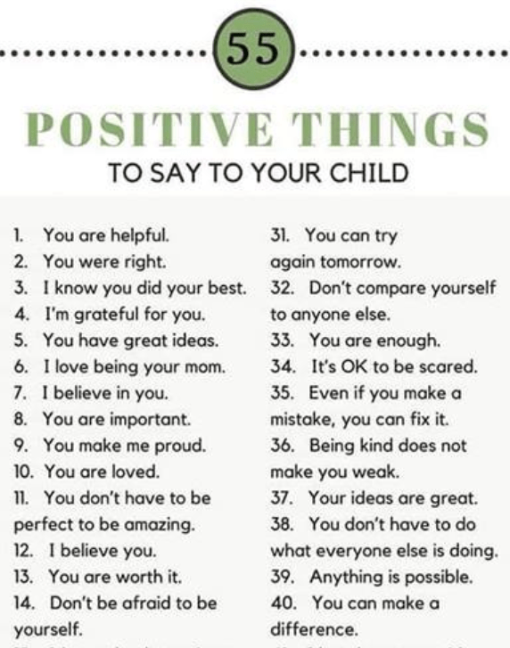 Positive talk to your child