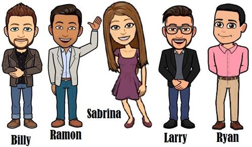 Bitmoji of Tech Team