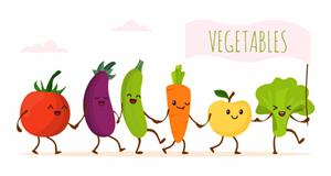 funny cartoon vegetables walking