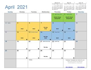 April Cycle Calendar