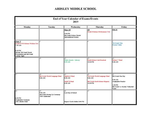 End of Year Calendar of Exams/Events