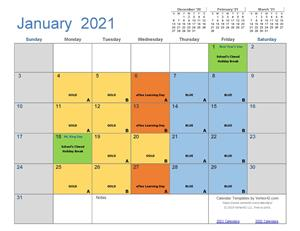 January Cycle Calendar